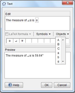 GeoGebra Text Tool