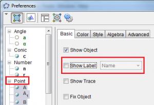 GeoGebra Preferences Dialog Box