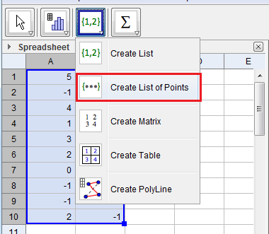 The Geogebra Spreadsheet
