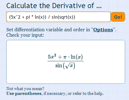 derivatives calculator