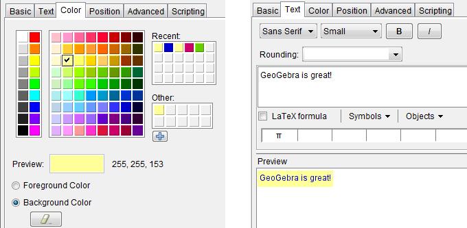GeoGebra 4.2 Color