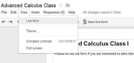 Google Form Live Form